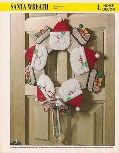 Santa Wreath Plastic Canvas Pattern by needlecraftsupershop, $4.99