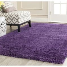 """5'1"""" $105.00 Safavieh Milan Shag Purple Rug (5'1 Square) - Overstock™ Shopping - Great Deals on Safavieh Round/Oval/Square"""
