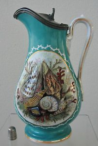 19th Cent PRATTWARE Pegwell Bay SHELLS Series SYRUP Pitcher PEWTER Lidded JUG