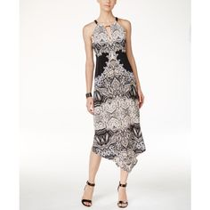 Inc International Concepts Petite Printed Keyhole Maxi Dress, ($100) ❤ liked on Polyvore featuring dresses, birch tree, halter maxi dress, halter top maxi dress, white halter dress, white dress and white day dress