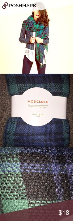 NWT MODCLOTH blanket scarf Never worn. Soft and fluffy blanket scarf. The pattern is plaid. Colors: sapphire blue, emerald green, and black. Very soft. Many ways to style. Comes from clean, smoke and pet free home. Open to discuss reasonable offers. ModCloth Accessories Scarves & Wraps