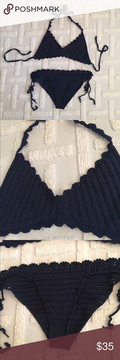Navy Blue Handmade Crochet Bathing Suit (Boutique) Super cute navy crochet bathing suit. I love it, but it just doesn't fit my body type. Only worn twice! Swim Bikinis