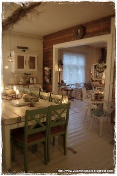 Elämää villa honkasalossa Country Charm, Shabby Chic Cottage, My Dream Home, Beach House, Home Improvement, Sweet Home, Dining Table, Living Room, Interior