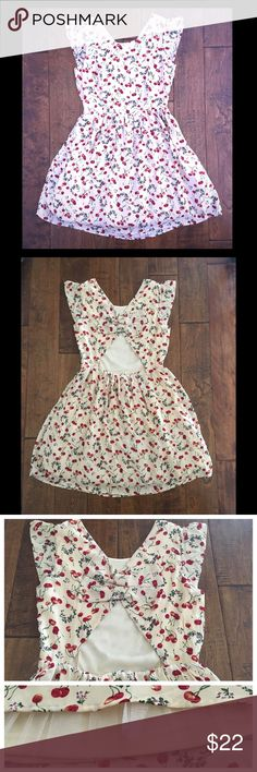 🍒 Cherry Dress 🍒 (Final Markdown) 🍒Adorable Cherry Dress🍒  Cut-out back design with cute decorative bows • Fluttery short sleeves • Inner lining with Tulle • Invisible side zipper • Cream color dress with red cherries, green stem, pink and white blossoms • Size Small (34 inch bust, 26 inch waist) • Price is firm; no offers accepted for this listing ModCloth Dresses