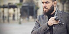 mens grey blazer black shirt style