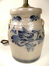 Rowe Pottery Works Salt Glazed Pottery Lamp Vintage