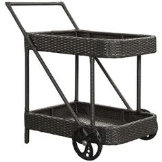Modway Replenish Outdoor Patio Beverage Cart in Espresso, Black Outdoor Serving Cart, Outdoor Bar Cart, Drink Cart, Beverage Cart, Modern Outdoor Furniture, Backyard Furniture, Contemporary Furniture, Outdoor Settings, Dining Furniture