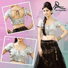 "Silver  Navratri Ready Made Padded Saree Blouse. ""Ra apparels"" launched by MuHeNeRa Ra 40"