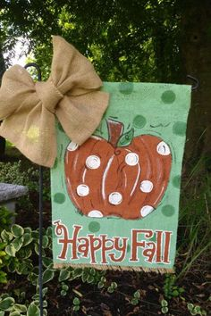 Happy Fall Single Pumpkin Burlap Garden Flag