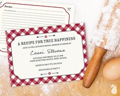 Host a bring-your-favorite-recipe shower with these keepsake bridal shower invitations.