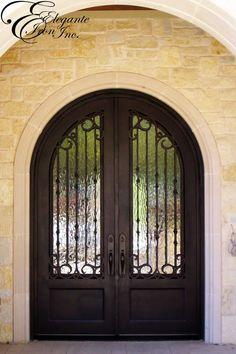 Custom wrought iron front door. Iron Front Door, Front Doors, Entry Doors With Glass, Glass Doors, Round Door, Carriage House, Double Doors, House Colors, Wrought Iron