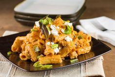 Pumpkin and Goat Cheese Pasta with Roasted Peppers and Sage