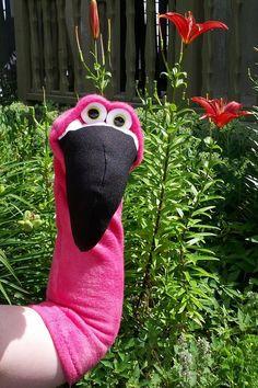 Flamingo, long neck sock puppet