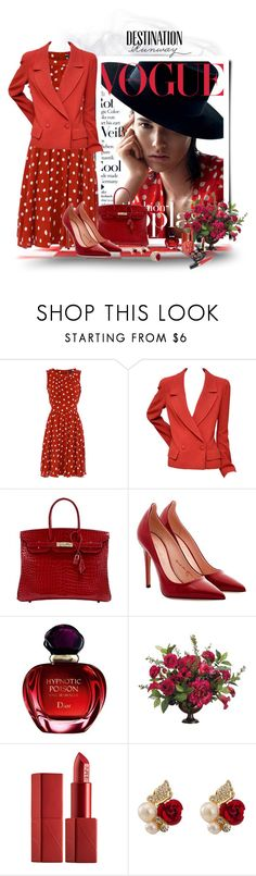 """The lady in red"" by akhesa10 ❤ liked on Polyvore featuring Dorothy Perkins, Chanel, Hermès, Tamara Mellon, Christian Dior, Allstate Floral, NARS Cosmetics, Bebe and Kat&Bee"