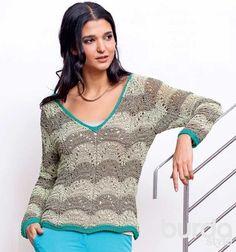 Пуловер с ажурным узором в полоску - схема вязания спицами. Вяжем Пуловеры на Verena.ru
