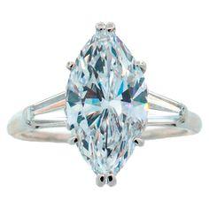 Harry Winston blue diamond rings | Harry Winston Marquise Diamond (GIA Certified) Platinum Ring
