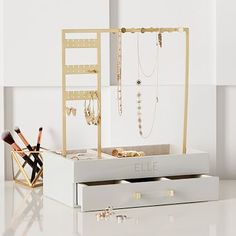 Cleaning Jewelry Who said jewelry could only be a statement piece for an outfit? Show off your glam in your room with our Elle Lacquer Jewelry Display Stand! Jewelry Display Stands, Jewelry Stand, Jewelry Holder, Jewelry Box, Necklace Holder, Gold Jewelry, Display Boxes, Beach Jewelry, Jewelry Organizer Stand