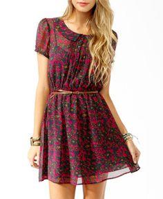 Spotted Floral Print Shirtdress w/ Belt