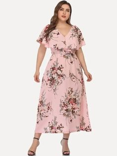 To find out about the Plus Large Floral Print Ruffle Trim Dress at SHEIN, part of our latest Plus Size Dresses ready to shop online today! Chifon Dress, V Dress, Curvy Dress, V Neck Dress, Ruffle Dress, Modest Fashion, Fashion Dresses, Western Dresses, Curvy Outfits