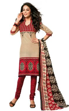 CREAM & RED COTTON SALWAR KAMEEZ - DISH 1008