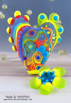 Funky Heart with Soul - Modern Art Glass - Lampwork - Focal Bead - Unique, Statement Designs by Michou P. Anderson by michoudesign on Etsy