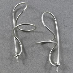 STERLING SILVER EARRINGS modern contemporary spiral twist coil elegant wire