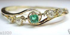 Antique Colombian Emerald Diamond Bangle Bracelet by AntiqueJewelryCo on Etsy