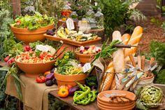 Buffet table with garden pots bird/garden party шведский стол, кейтеринг и Buffet En Plein Air, Buffet Set, Buffet Tables, Food Buffet, Buffet Recipes, Salad Buffet, Brunch Buffet, Outdoor Buffet, Outdoor Food