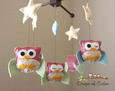 """Baby Crib Mobile - Baby Mobile - Nursery Owl Mobile """"Five Owls in the night"""" (You can pick your colors) Mobile - Crib Mobile"""