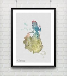 Snow White Watercolor Print Disney Baby Girl Bedroom Decor by VIVIDEDITIONS