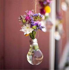 2 pack Hanging Light Bulb Shape Plastic Flower Air Plant Container Planter Terrarium Home Decoration