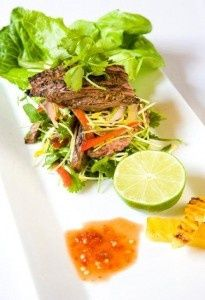 Thai Beef Salad (a riff on Ellie Krieger's Grilled Thai Beef Salad).   Super delicious!!  The marinated beef turns out really tender and flavorful!