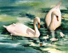 Swan Etsy listing at https://www.etsy.com/listing/174746151/swans-with-cygnets-11-x-14-watercolor