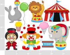 At the Circus BUY 2 GET 1 FREE Digital Clip Art by printcandee