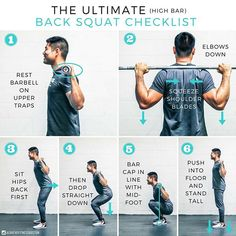 *Quad Forward Focus* Squats, by nature, are a quadricep-dominant exercise but hamstrings and glutes… – happy-go-lucky-lock Back Squat Form, Squat With Bar, Back Squats, Squat With Weights, Squat Workout, Gym Workout Tips, Workout Music, Workout Fitness, Squat Technique
