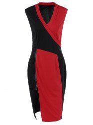 edcc5dfc8a6 Plus Size Color Block Zipper Bodycon Dress - RED + BLACK XL Rouge Noir