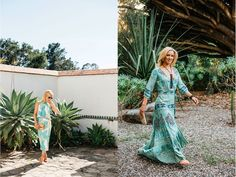 Style File: Sizzling Summer Style with Jenny Schatzle, shot at Casa del Herrero. L: outfit from Blanka  and gold-rimmed aviators from Occhiali Fine Eyewear (805/565-3415, 1046 Coast Village Rd. or 805/963-5760, 7 W. Canon Perdido St., occhialieyewear.com). R: dress, shoes and accessories from Bonita (805/565-3848, 2330 Lillie Ave., Summerland, bonitasummerland.com). Photos by Cara Robbins. http://sbseasons.com/2016/06/style-file-sizzling-summer-style-with-jenny-schatzle/ #sbseasons #sb
