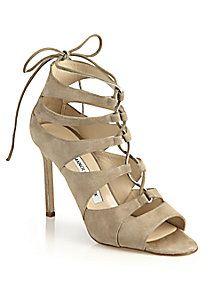 Manolo Blahnik - Suede Lace-Up Sandals