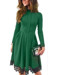 CRAVOG Damen Spitzenkleid elegante Kleider mit Langarm Cocktailkleider
