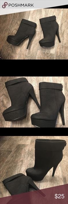 Shoe Dazzle Bootie Heels Shoe Dazzle Black Bootie Heels. Worn once. No scratches or bruising. Excellent condition. Shoe Dazzle Shoes Heeled Boots