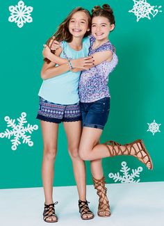 Heading somewhere warm? Put these exclusive prints and made-to-match tops on your packing list. Don't forget the strappy sandals! Preteen Fashion, Girls Fashion Clothes, Kids Fashion, Teen Clothing, Cute Little Girls Outfits, Little Girl Models, Cute Outfits, Teen Girl Poses, Cat Dresses