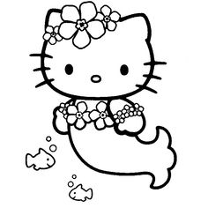 Coloriage Hello Kitty en Sirène!
