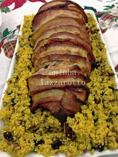 Lombo de Porco Recheado com Banana e Cuscuz Marroquino com Açafrão e Frutas Secas