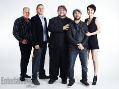 From left to right: Ron Perlman, Charlie Hunnam, Guillermo Del Toro, Charlie Day and Rinko Kikuchi. Photo by Michael Muller/EW Pacific Rim Cast, Rinko Kikuchi, Charlie Day, Ron Perlman, Sons Of Anarchy Samcro, Queer As Folk, Charlie Hunnam, Comedy Series, Entertainment Weekly