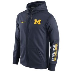 New Arrivals Nike University of Michigan Navy Circuit Full Zip Hooded Sweatshirt