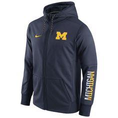 New Arrivals Nike University of Michigan Navy Circuit Full Zip Hooded Sweatshirt