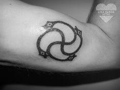 Thunder cross, latvian ornament. Dotwork tattoo