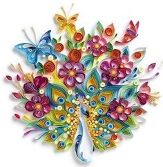 Yulia Brodskaya is one of the world's foremost artists specializing in quilling, also known as paper filigree. Using strips of paper, Brodskaya shapes, rolls and glues the pieces together to form intricate and colorful decorative designs, like the peacock seen above.