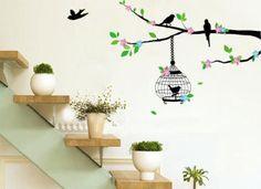 Vintage floral bird cage wall art sticker decals