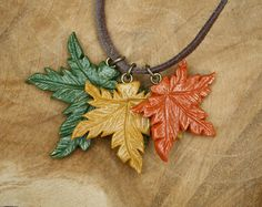 Maple leaf / leaves necklace, polymer clay jewelry